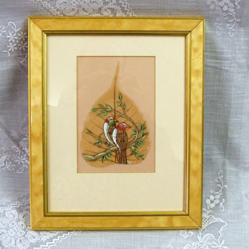 Vintage India Peepal Tree Framed Art