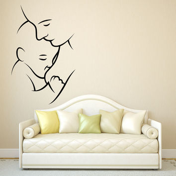 Wall Vinyl Decal Gentle Mother with a Baby Image Nursery Home Decor Unique Gift z4799