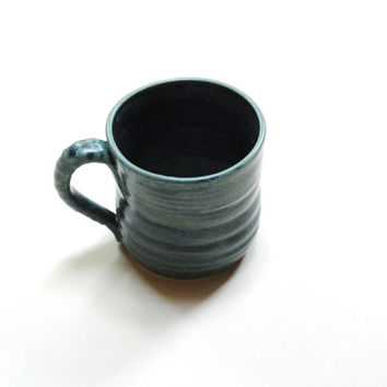 Teal ceramic mug,pottery mug,medium clay mug,clay coffee mug,canadian pottery,organic style cup,pottery teacup,mug with handle,