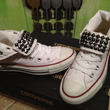 Custom Gun Metal Studded White High Top Converse All Star - Chuck Taylors! ALL SIZES & COLORS!!