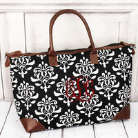 Monogrammed Black Victorian Damask Tote - Prepacked Hospital Bag - Maternity Bag - Baby Shower Gift - Christmas Gift - Birthday Gift