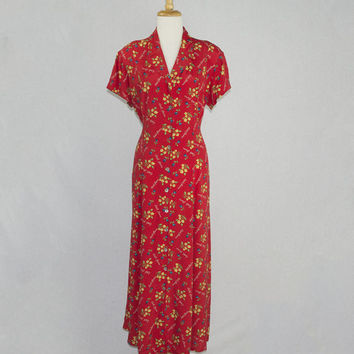 Vintage 90s Red Grunge Dress Day Dress Large Little Flowers Novelty Garden Print