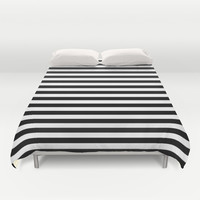 Black White Stripes Duvet Cover by Beautiful Homes | Society6