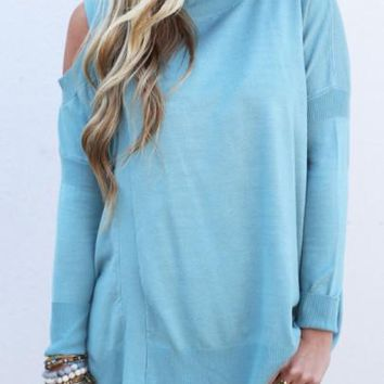 New Women Blue Patchwork Cut Out Off Shoulder Knit Pullover Sweater