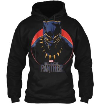 Marvel Black Panther Movie Retro Circle Portrait  Pullover Hoodie 8 oz