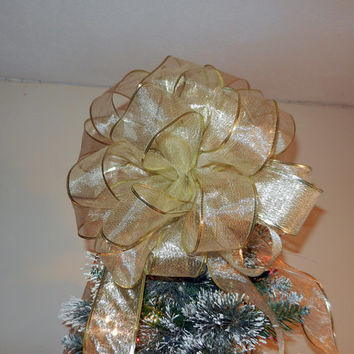 Large Sheer Shimmery GoldRibbon Christmas Tree topper bow 6 ft. tails and 12 matching ornament bows