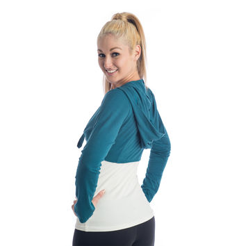 Love Bamboo Cropped Hoodie - Teal