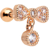 16 Gauge Rose Gold Anodized Clear CZ Bow Cartilage Tragus Earring