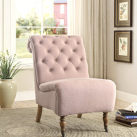 Linon Cora Washed Pink Linen Roll Back Tufted Chair