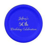 Bright Blue Paper Plates, 50th Birthday Party Paper Plate