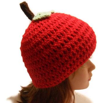 Crochet Red Apple Beanie Hat with Stem and Leaf