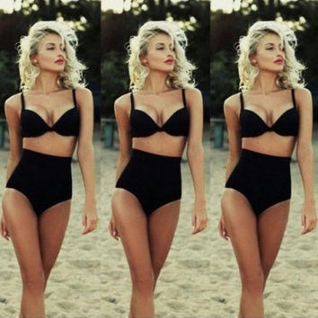 PURE COLOR OF TALL WAIST A BATHING SUIT BLACK SWIMSUIT