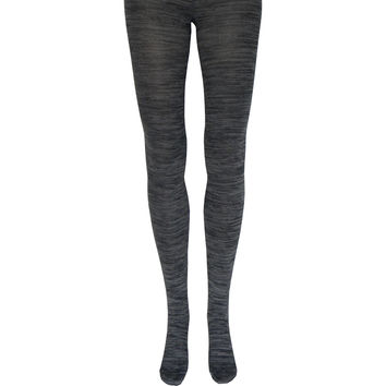 Space Dyed Cotton Tights in Charcoal