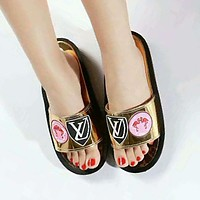 LV Louis Vuitton Trending Women Casual Print Sandal Slipper Shoes Gold I-GCXGCFH-GC