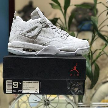 [Free Shipping ]Nike X Kaws Air Jordan Retro 4 Graffiti White Basketball Sneaker