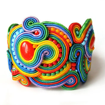 Multicolor RAINBOW soutache statement bracelet colorful handmade embroidery green blue red yellow orange satin strips TOHO oaak gift for her