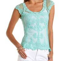 Sheer Embroidered Mesh Tee by Charlotte Russe