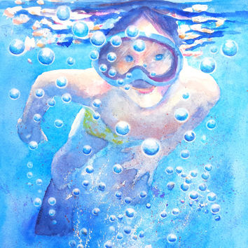 Snorkeling Child, Original Watercolor, 9x12, Child Swimming, Underwater, Bubbles, Water theme, Beach house, boys room