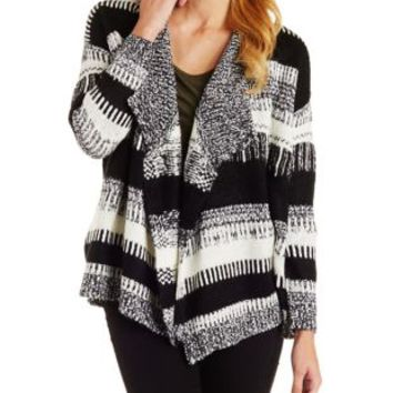 Black Combo Marled & Striped Cascade Cardigan by Charlotte Russe
