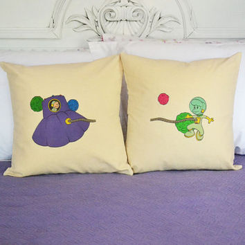 Set of 2  Space Adventure - Unique Cartoon Square Cotton Covers and Cushions - Choose a Size and Color