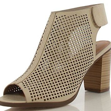 City Classified Womens Roadway Faux Leather Peep Toe Laser Cut Out Slingback Stacked Heels