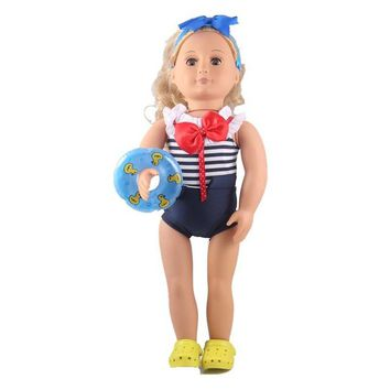 Swimming Pool beach New blue Swimsuit+Shoes+swim ring for 18 inch American girl doll clothes fit 43cm Baby Born zapf doll clothing accessoriesSwimming Pool beach KO_14_1