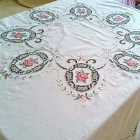 Embroidery round tablecloth Vintage richelieu lace Retro cutwork top table decor Beautiful toptable Stunning old design Handmade Gift idea