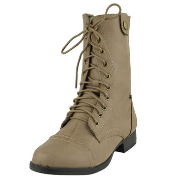 Womens Ankle Boots Camouflage Lining Lace Up Combat Shoes Beige SZ