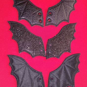 Bat shoe wings (customized - finished item) choose your own colors of fabric and thread