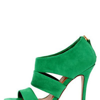 My Delicious Large Emerald Green Suede Cutout Peep Toe Heels