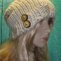Vegan Slouchy Beanie Hat Winter Hand Knit Beige Cream Woodsy With Wood Buttons