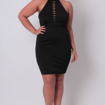 Plus Size Lace Up Come-Hither Dress - Black
