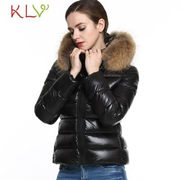 SIF 2016 Winter New Womens Cotton Black Warm Faux Fur Collar Hooded Parka Lady Wadded Overcoat Quilted Jacket Levert Dropship