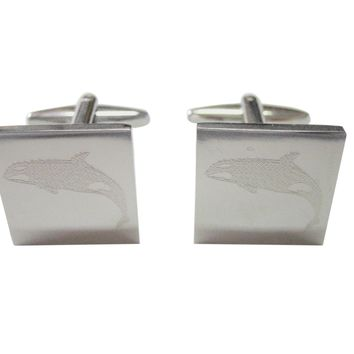 Silver Toned Etched Jumping Killer Whale Orca Cufflinks