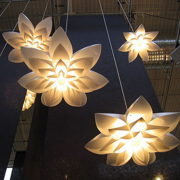 Lily Flower Lamp Pendant Light Pp Shade Diameter 55/70/85Cm Lotus Lampshape Diy Lampshade Bedroom/Shops Led Light Fixture