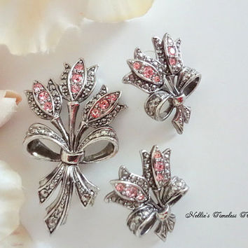 Vintage Avon Marcasite Pink Tulip Pin and Earring Set with Pink Crystals,Avon Jewelry,Avon Earrings,Avon Brooch,Vintage Jewelry,Flower Pin