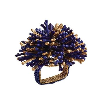 Sunburst Napkin Ring in Navy - Set of 4