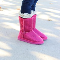 Hot Pink Sequins Comfy Boots - Ryleigh Rue Clothing by MVB