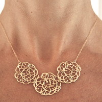 Lacy Gold Statement Necklace