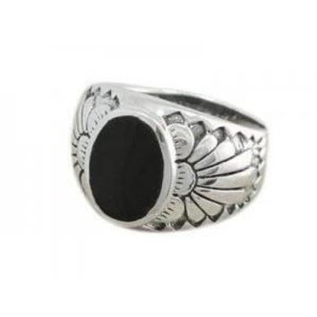 925 Sterling Silver Mens Black Onyx Indian Native American Thick Ring