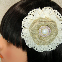Bridesmaid Hair Clip Brooch Pin Fascinator Burlap and Ivory Lace Flower with A Vintage Gold Pearl Button Center