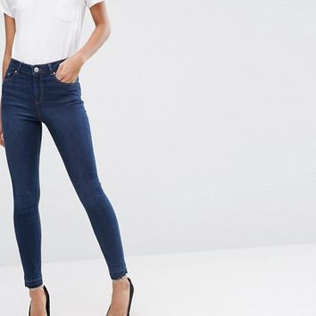 ASOS RIDLEY Skinny Jeans In James Darkwash with Let-Down Hem at asos.com