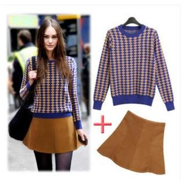 Women's Fashion Round-neck High Waist Sweater Two Piece Set [22463315994]