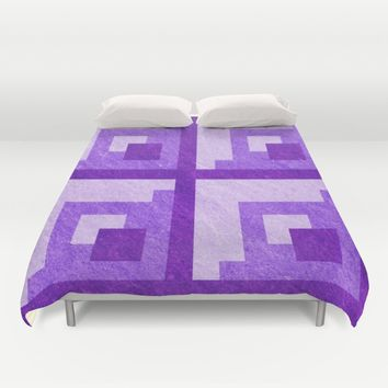 Purple Pixel Blocks Duvet Cover by Likelikes | Society6
