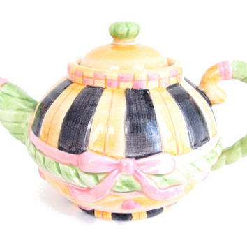 Vintage Teapot Sakura China Fine China with hearts and bows, Colorful teapot, Fun fanciful teapot collectible, ceramic tea time tea pot
