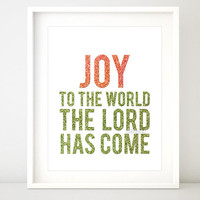 "Christmas printable decor: "" Joy to the world the Lord has come "" gold glitter, red and green typography wall art, gold wall decor -pp81"