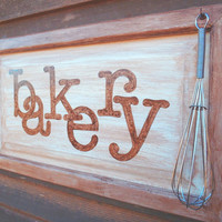 Bakery Sign with Wire Whisk -Repurposed Hardwood Cabinet Door Wall Hanging Sign Brown Kitchen Baking Foodie Farmhouse Decor - Gifts Under 50