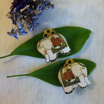 Cloisonne Elephant Earrings Vintage White Enamel Elephant With Pink Green Orange Blue Floral Accents African Asian Good Luck Prosperity