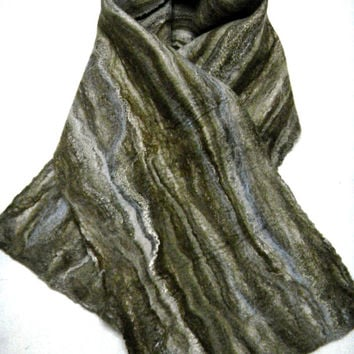 Felted scarf Felt Scarves Wool scarf Brown scarf Winter scarf  long scarf double-sided scarf  merino wool