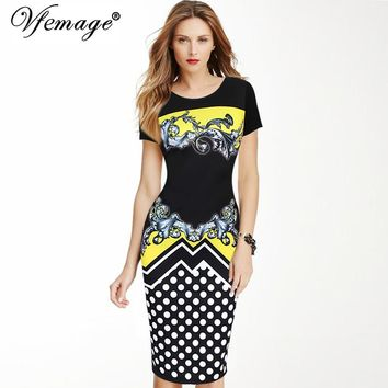 Vfemage Womens Elegant Vintage Retro Polka Dot Printed Vestidos Casual Work Office Business Party Pencil Sheath Dress 3066